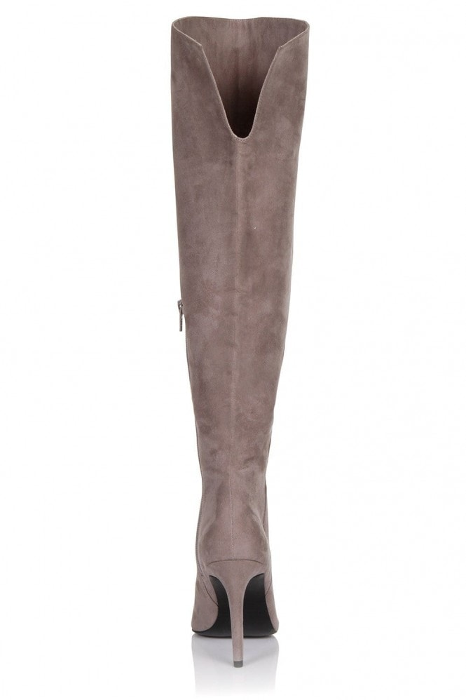 Little Mistress Footwear Grey Microfiber Knee High Point Toe Boot