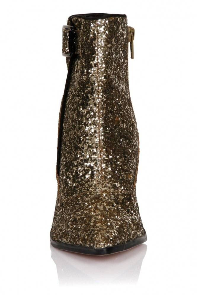 Little Mistress Gold Glitter Ankle Boot