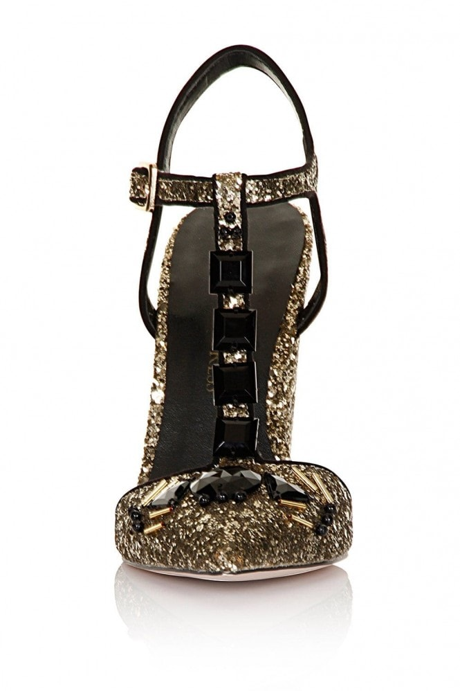 Little Mistress Footwear Gold Glitter T-bar Chunky Heels