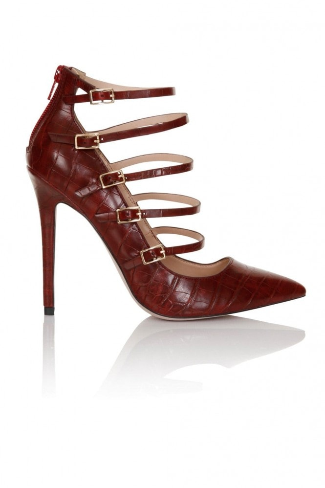 Paper Dolls Footwear Dark Red 5 Strap Croc Print Court