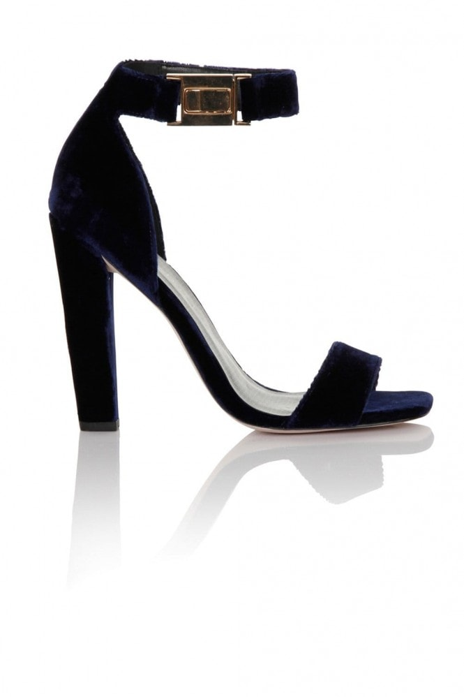 Paper Dolls Footwear Navy Velvet Ankle Buckle Open Toe