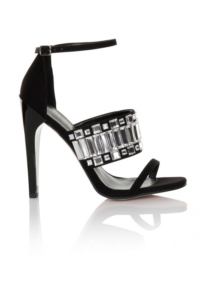 Little Mistress Footwear Black/Clear Thick Strap with Peep Toe