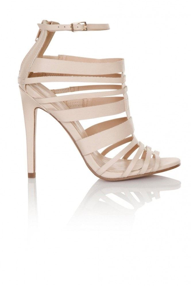 Little Mistress Nude Multi Strap peep toe heel