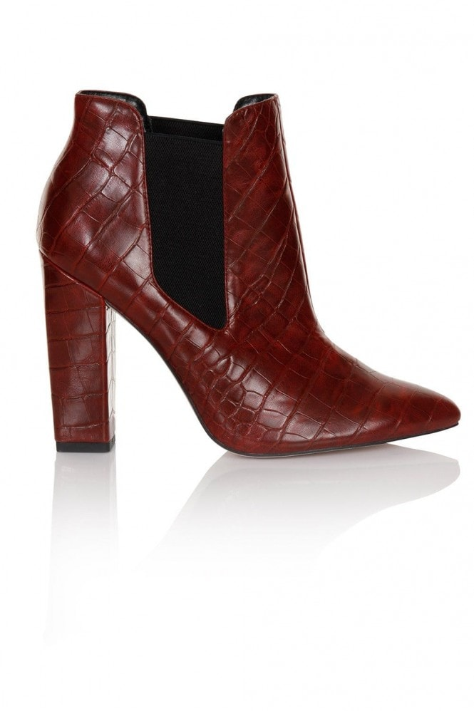 Paper Dolls Footwear Red Croc Print Chelsea Boots