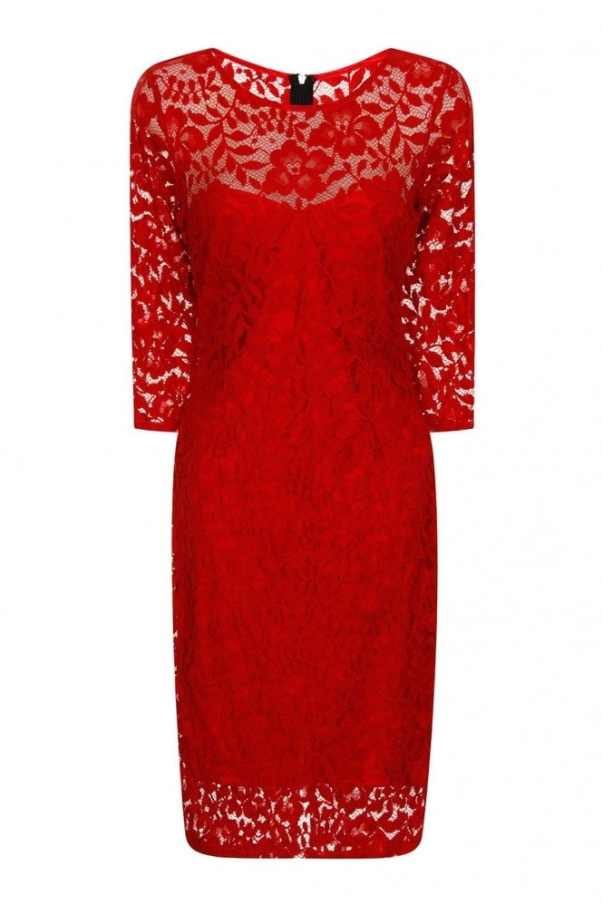 Chloe Lewis Edit Red Lace 3/4 Sleeve Dress