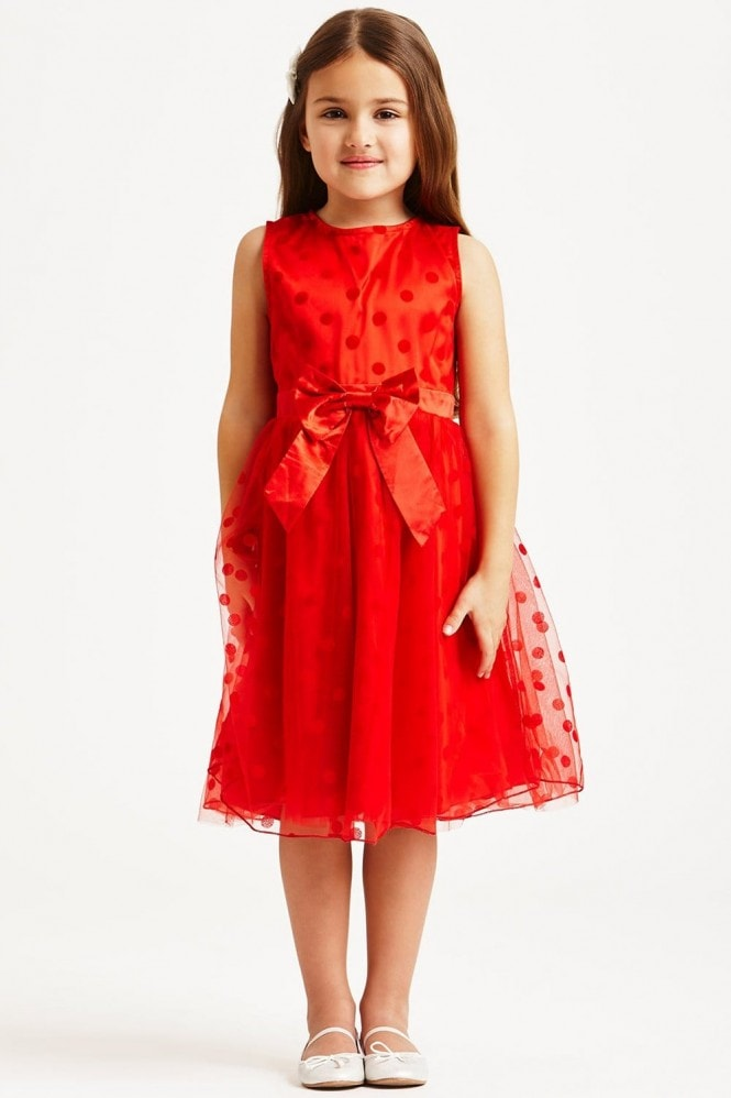 Little MisDress Red Polka Dot Mesh Dress