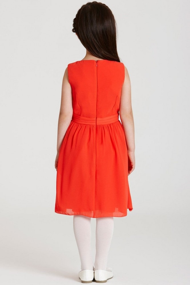 Little MisDress Orange Chiffon Embellished Dress