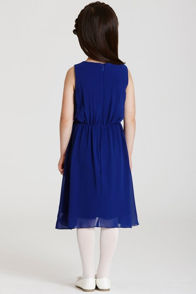 Little MisDress Cobalt Embellished Waist Chiffon Dress