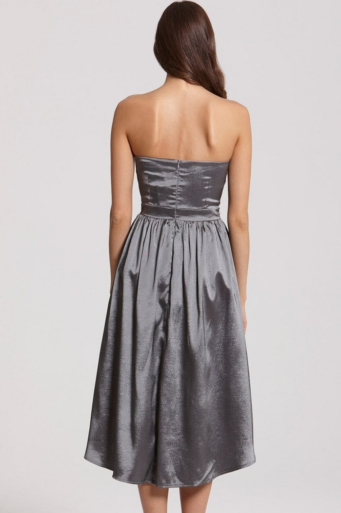 Grey Satin Midi Prom Dress