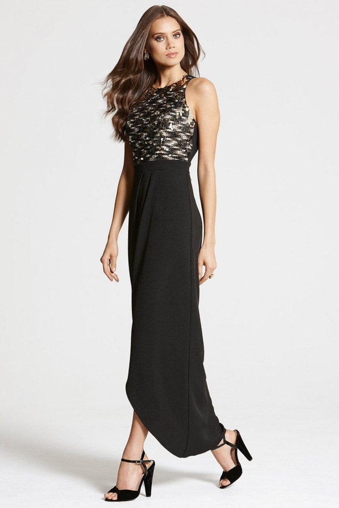 Black and Gold Crossover Maxi Dress