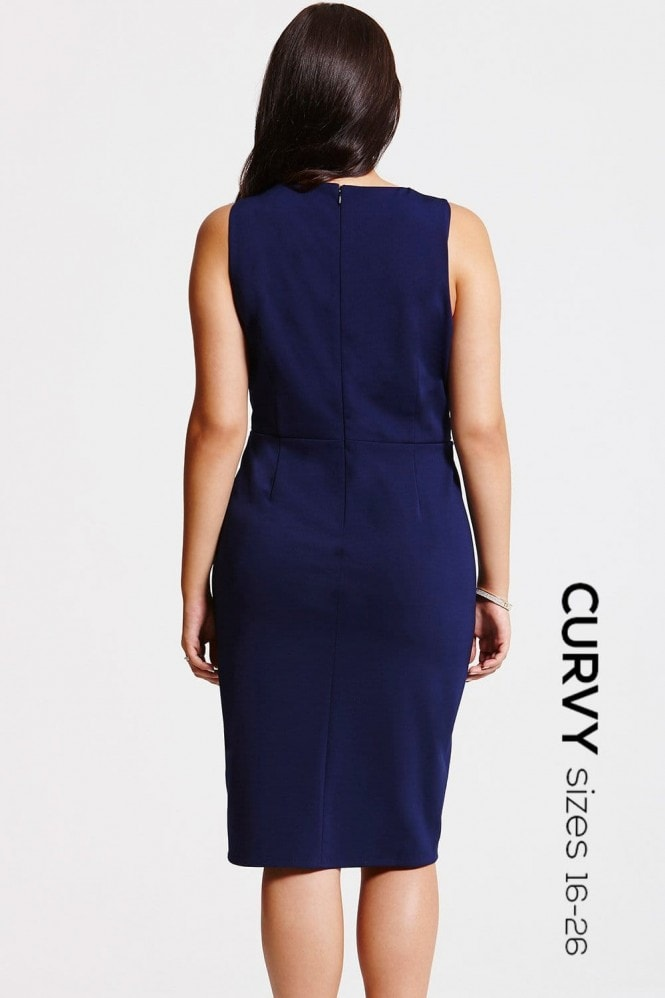 Navy Gathered Crossover Dress