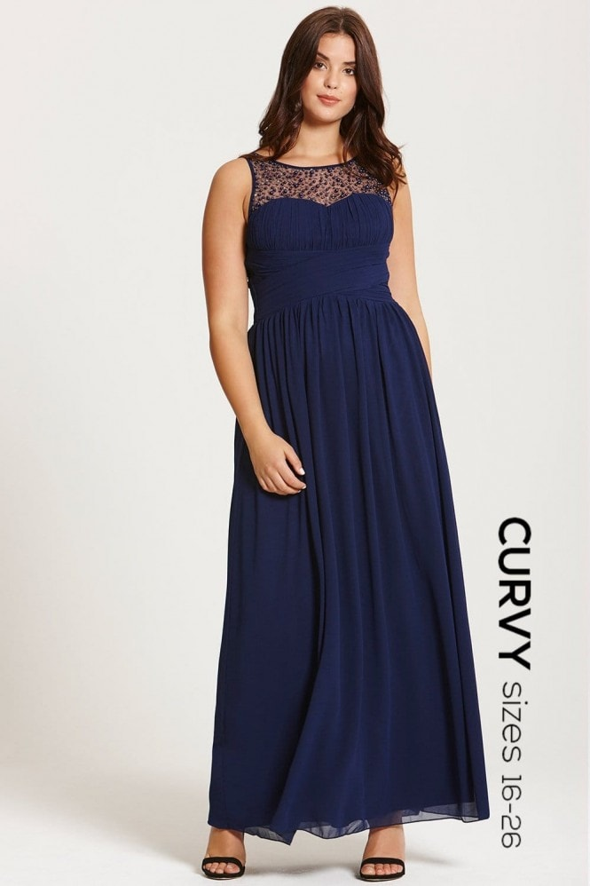 Little Mistress Curvy Navy Embellished Neck Maxi Dress