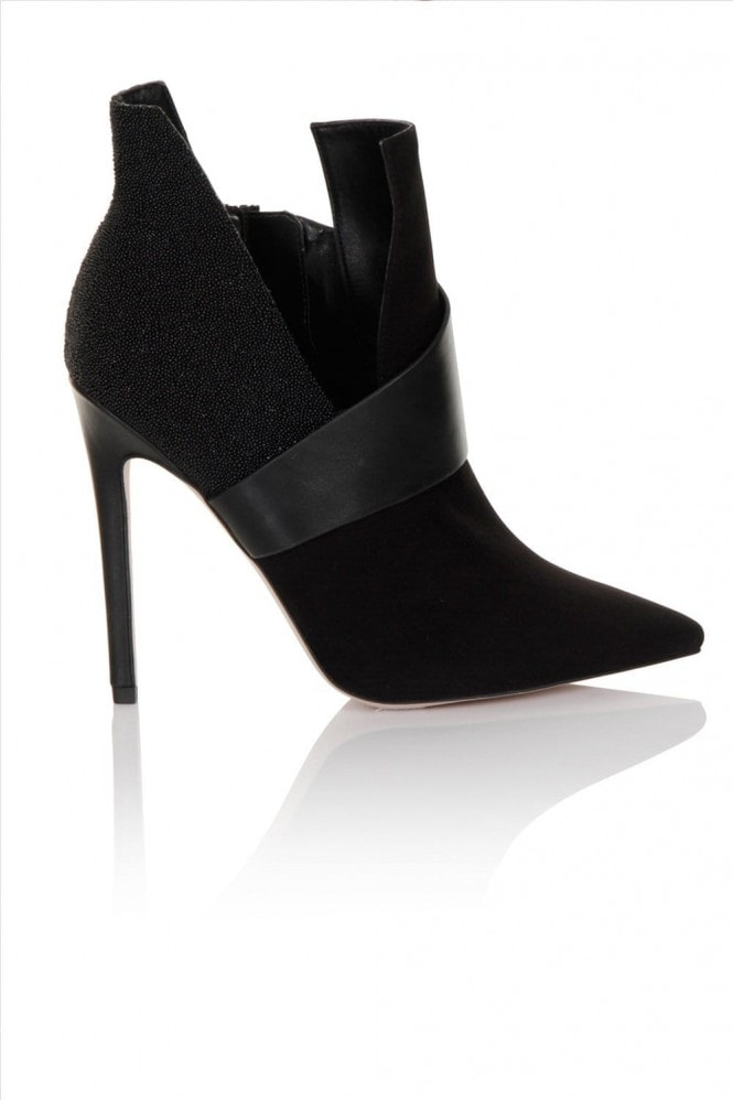 Little Mistress Footwear Black 'Caviar' Aysemmtric Point Toe Boot