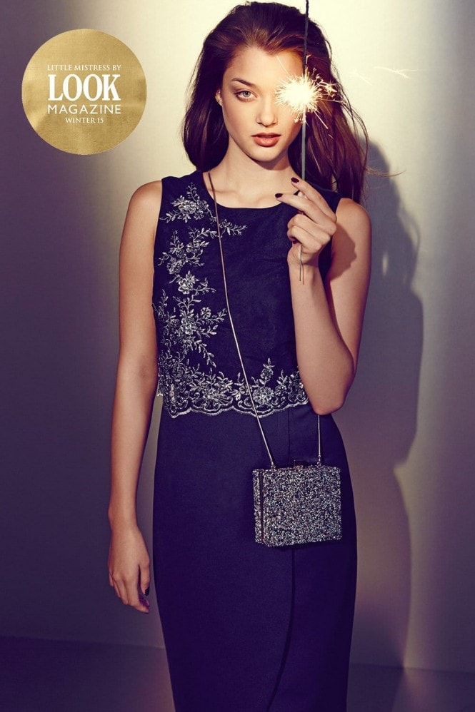 Outlet Little Mistress by Look Magazine Navy and Silver Embellished 2 in 1 Dress