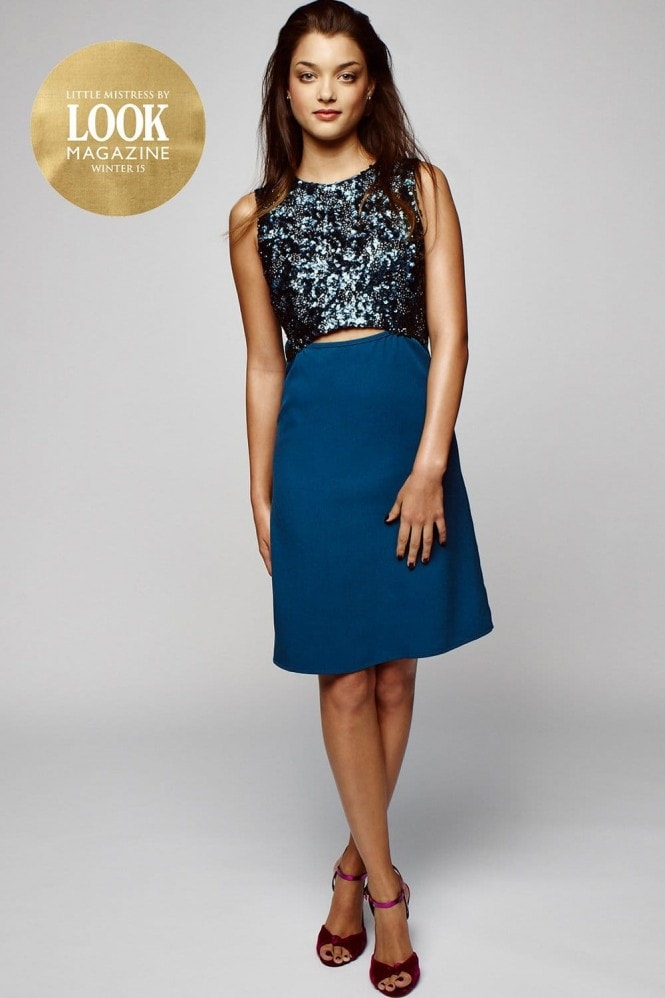 Outlet Little Mistress by Look Magazine Teal Sequin Embellished Cut Out Dress
