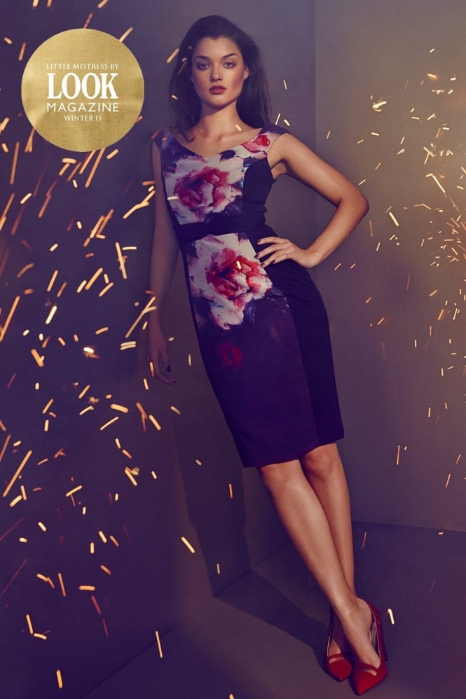 Outlet Little Mistress by Look Magazine Purple Rose Print Bandeau Bodycon Dress