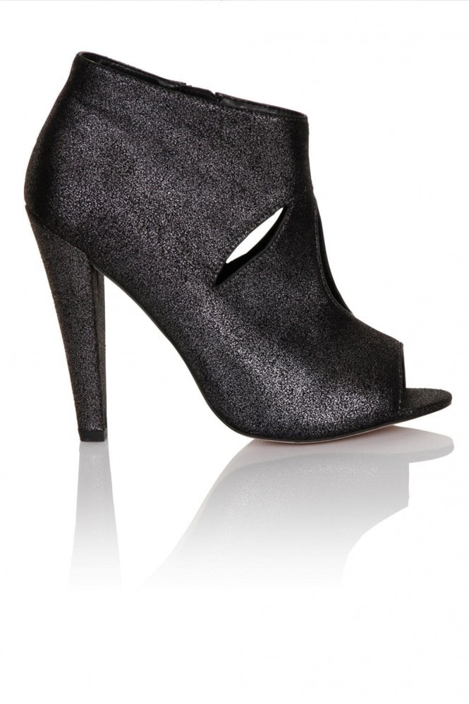 Little Mistress Pewter cut out peep toe ankle boot