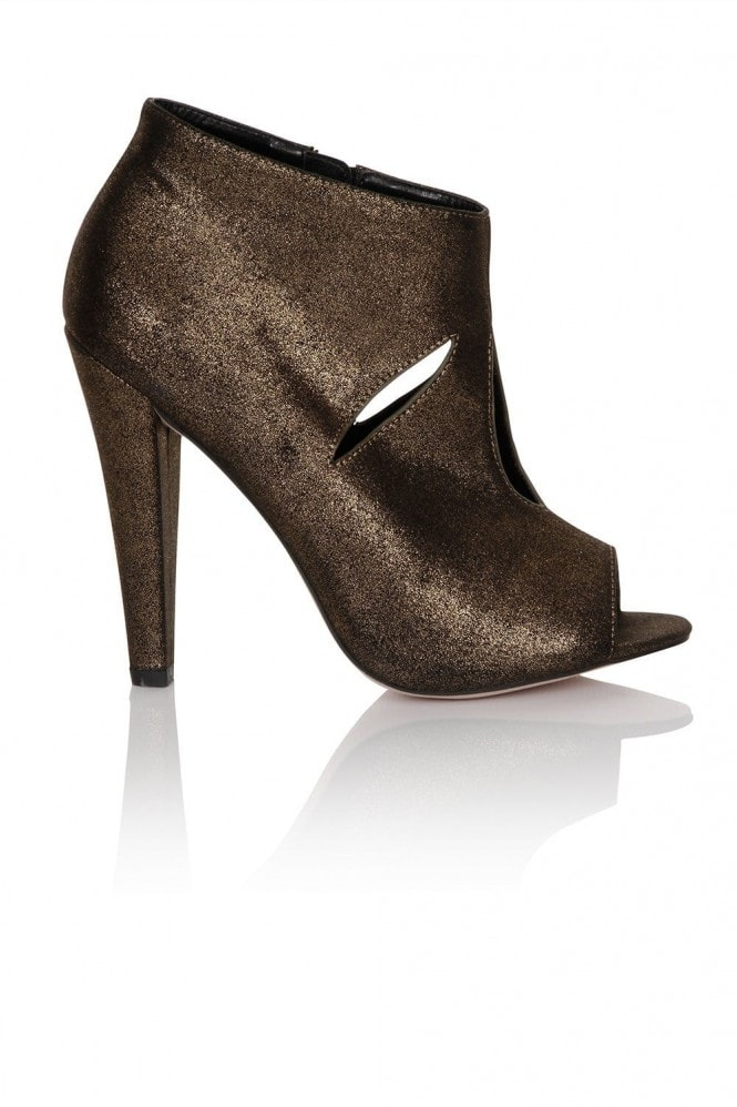 Dark bronze cut out peep toe ankle boot