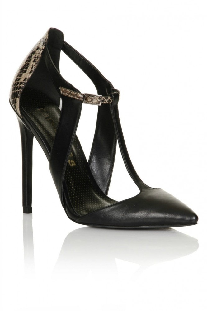 Paper Dolls Footwear Black/ Snake T-Bar Court