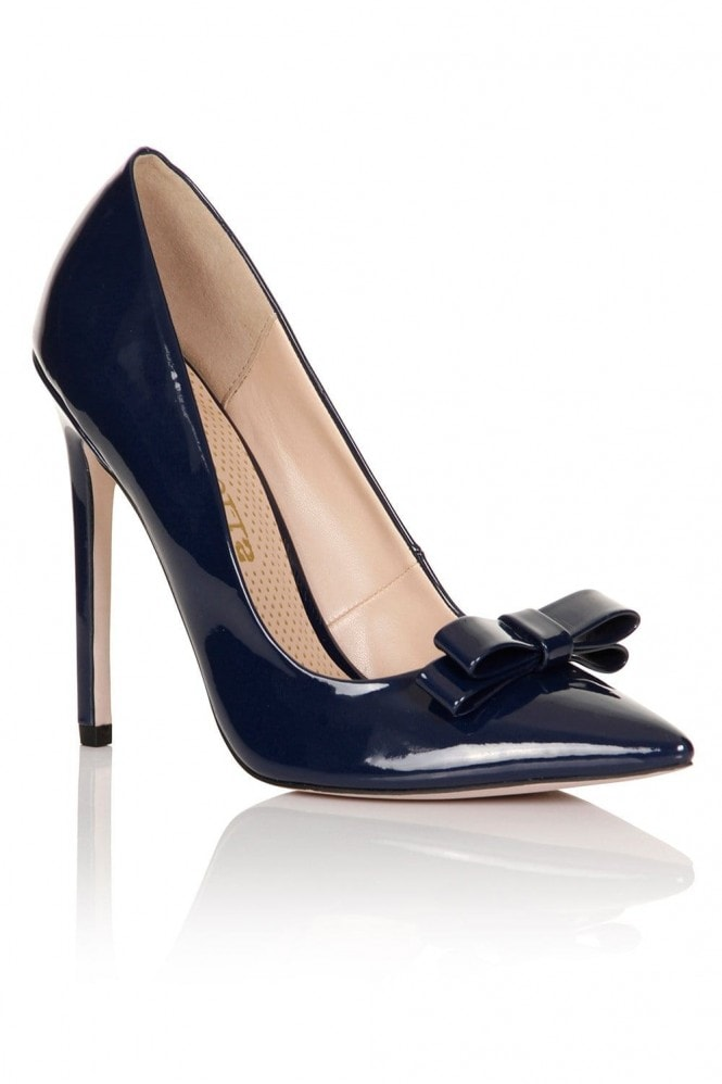 Paper Dolls Footwear Navy Patent Tape Bow Court Heel