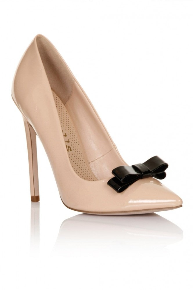 Paper Dolls Footwear Nude Patent Tape Bow Court Heel