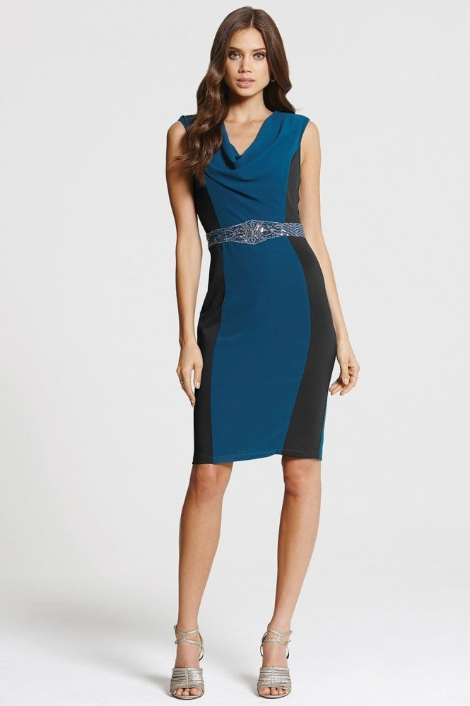 Teal and Black Cowl Neck Bodycon Dress