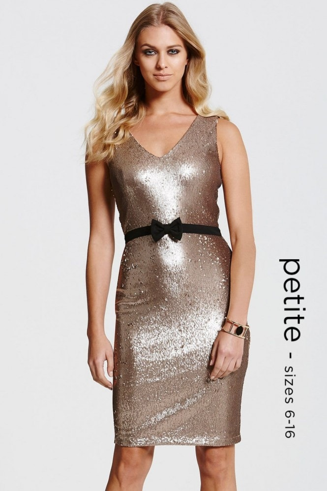 Outlet Paper Dolls Gold Sequin Bow Waist Dress