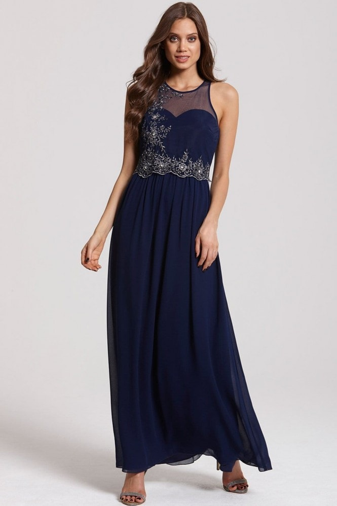 Little Mistress Navy and Silver Embellished 2 in 1 Maxi Dress