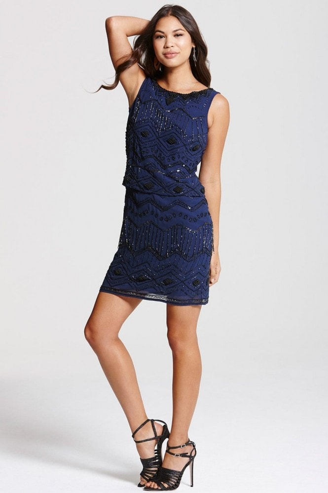 Navy Drop Waist  Embellished Dress