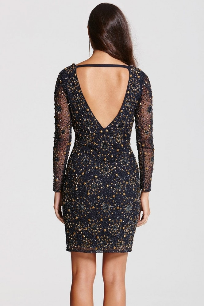 Navy and Gold Heavily Embellished Bodycon Dress