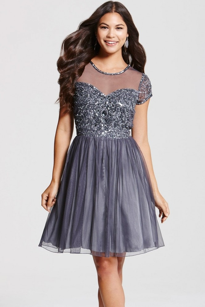 Little Mistress Grey Fit and Flare Embellished Dress