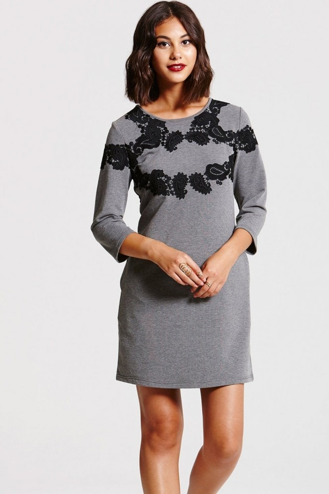 Outlet Girls On Film Grey and Black Jumper Dress