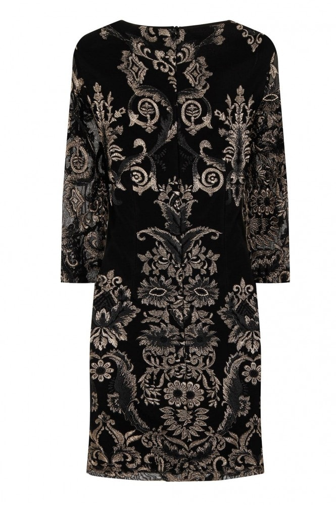 Chloe Lewis Edit Black and Gold Floral Embroidered Bodycon Dress