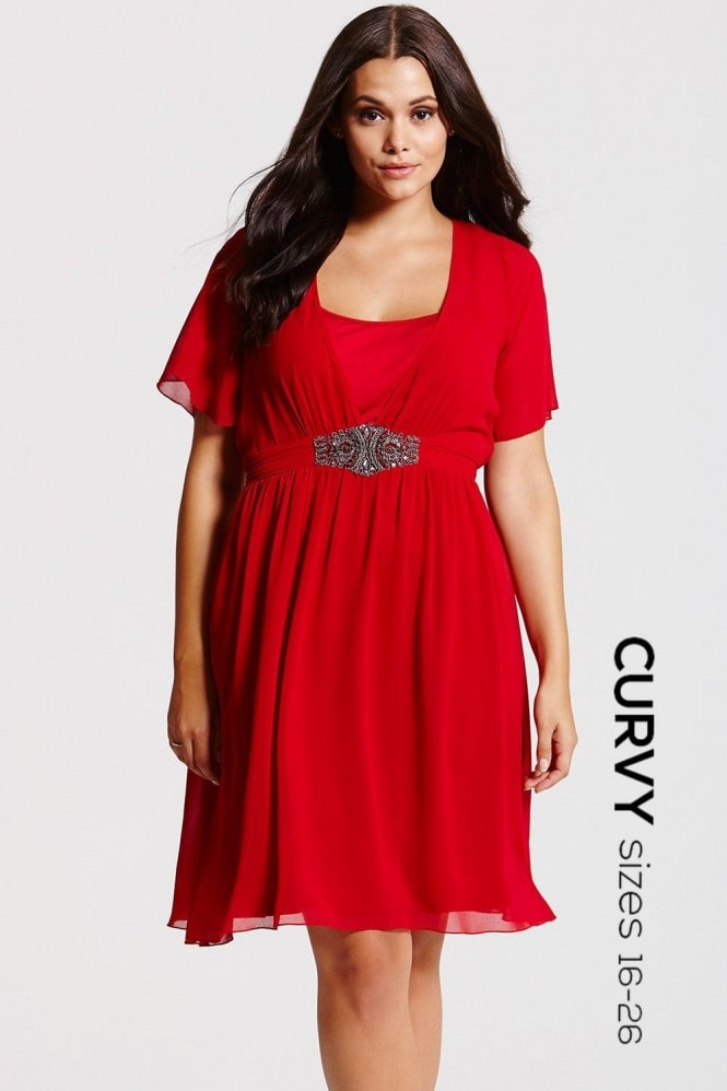 Red Embellished Chiffon Dress