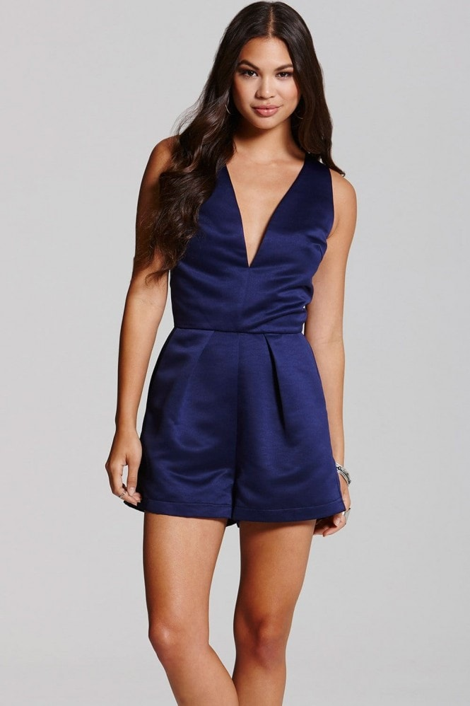 Girls on Film Navy Satin Jumpsuit
