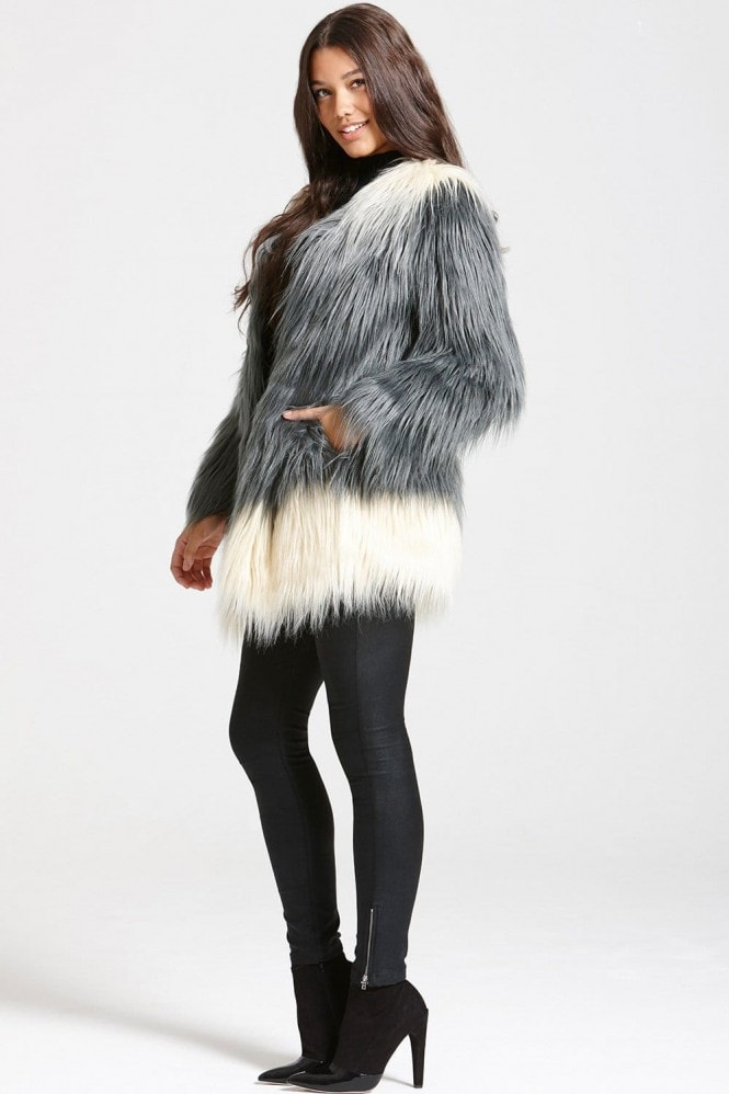 Grey Ombre Faux Fur Jacket