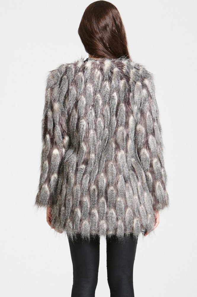 Little Mistress Grey and White Pattern Faux Fur Jacket