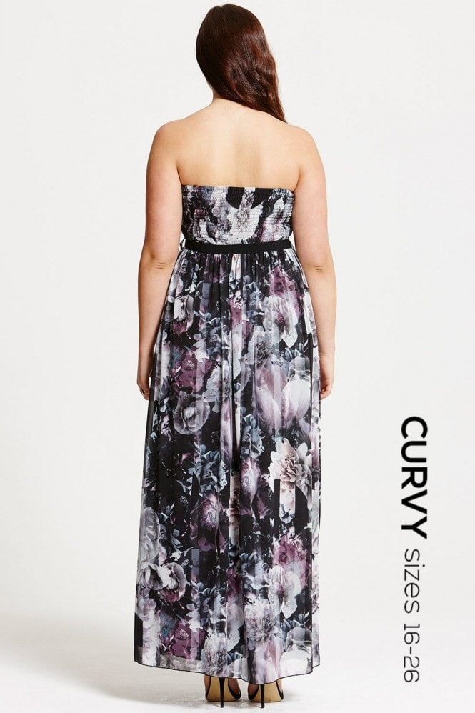 Little Mistress Curvy Dark Rose Print Bandeau Maxi Dress