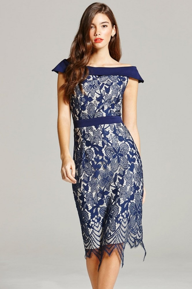 Navy Lace Bardot Midi Dress