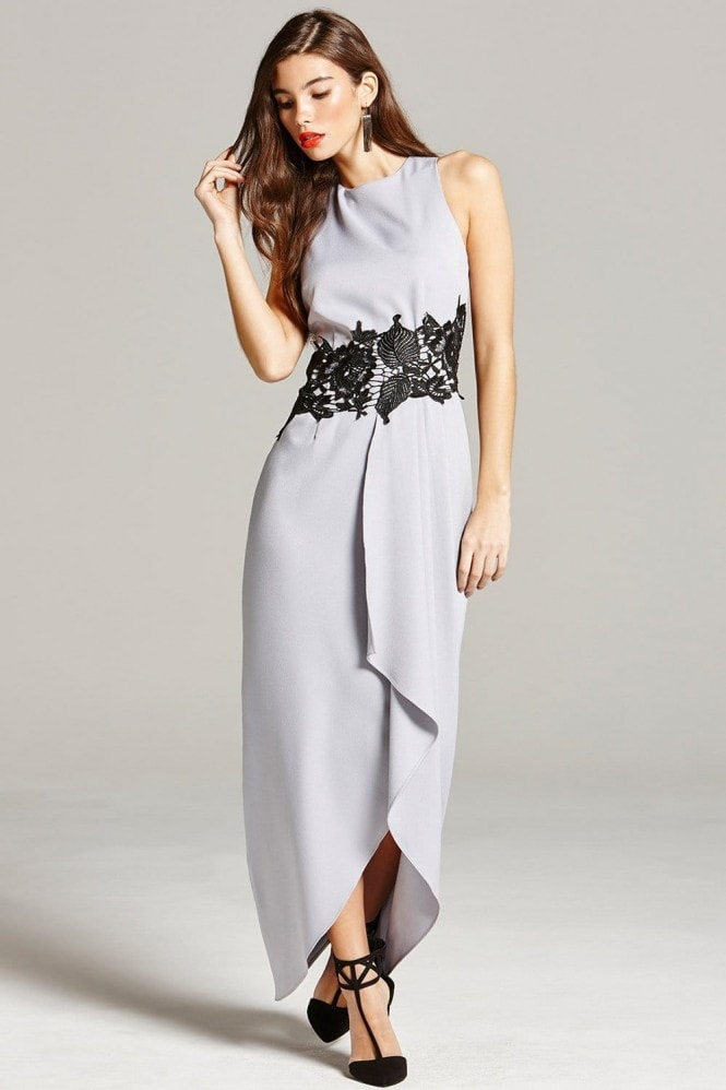 5602fc0a678 Grey and Black Lace Overlay Maxi Dress