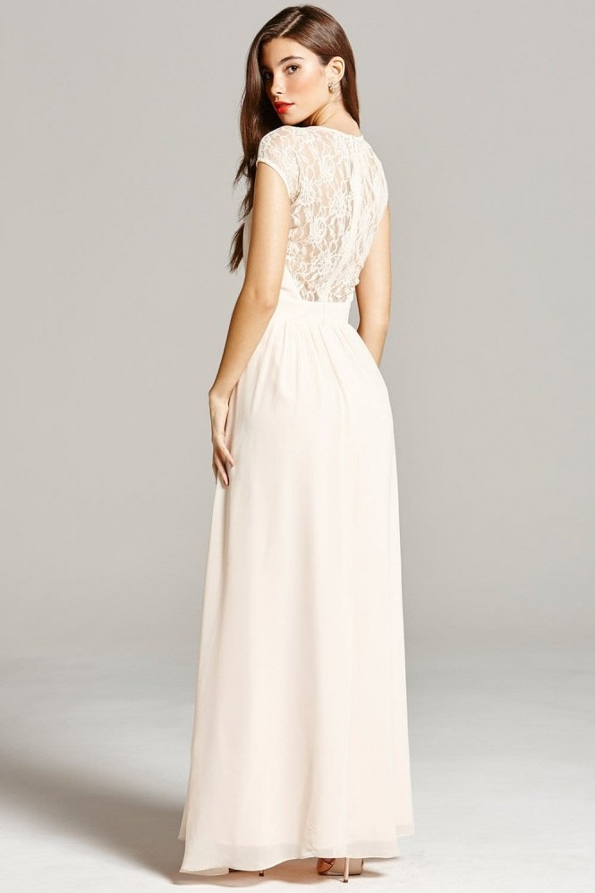Little Mistress Nude Sheer Lace Maxi Dress