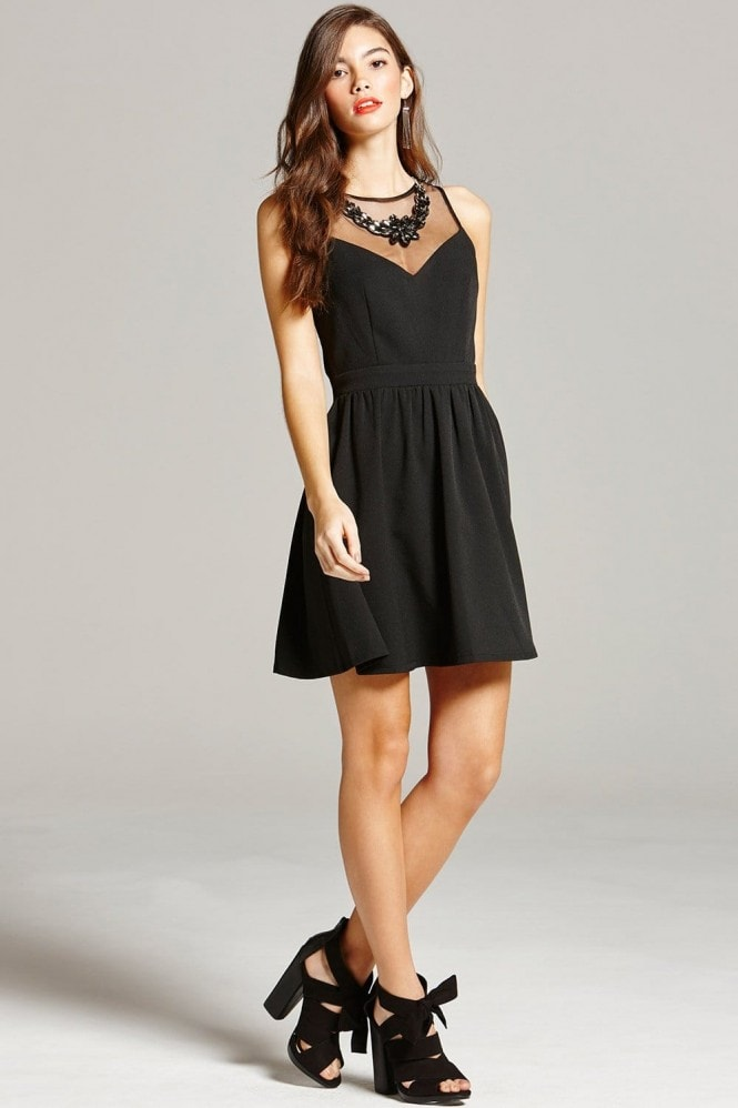 Black Embellished Neck Mini Dress