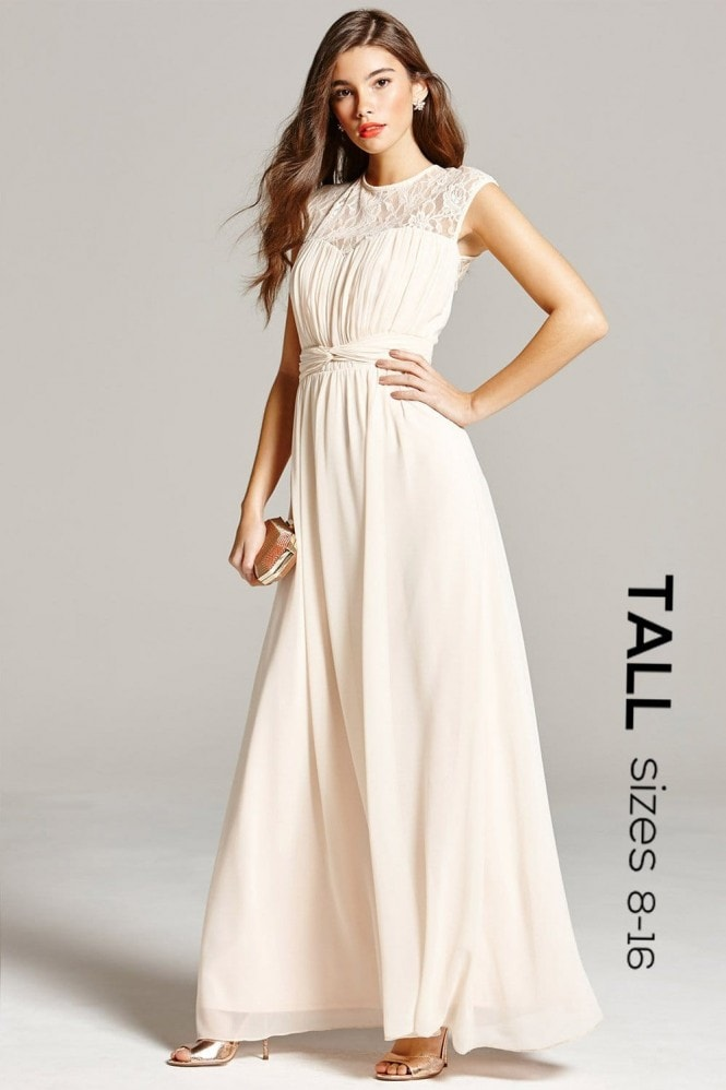 Tall Nude Sheer Lace Maxi Dress