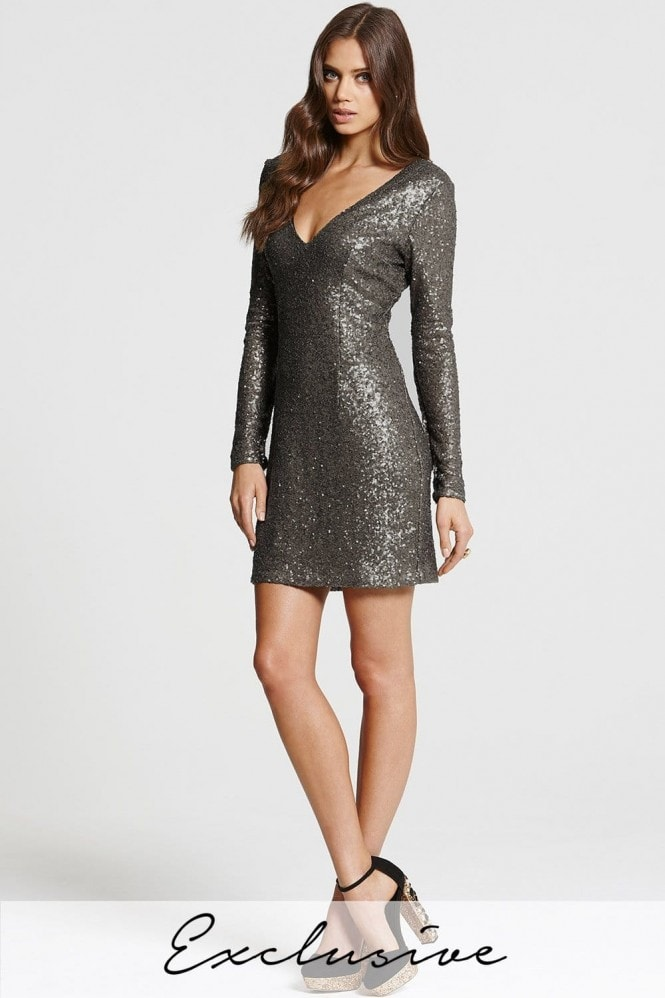 Heavily Embellished Gunmetal Bodycon Dress