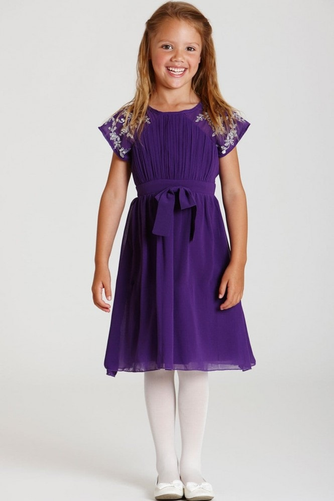 Little MisDress Purple Chiffon Bow Waist Dress