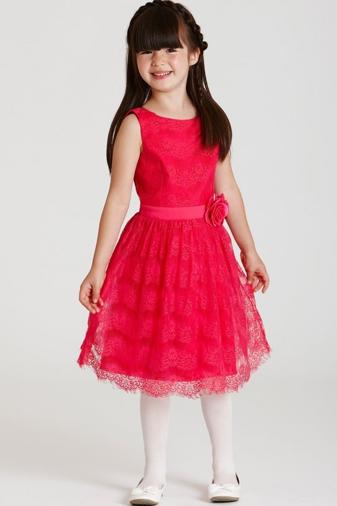 Little MisDress Pink Lace Bow Waist Dress