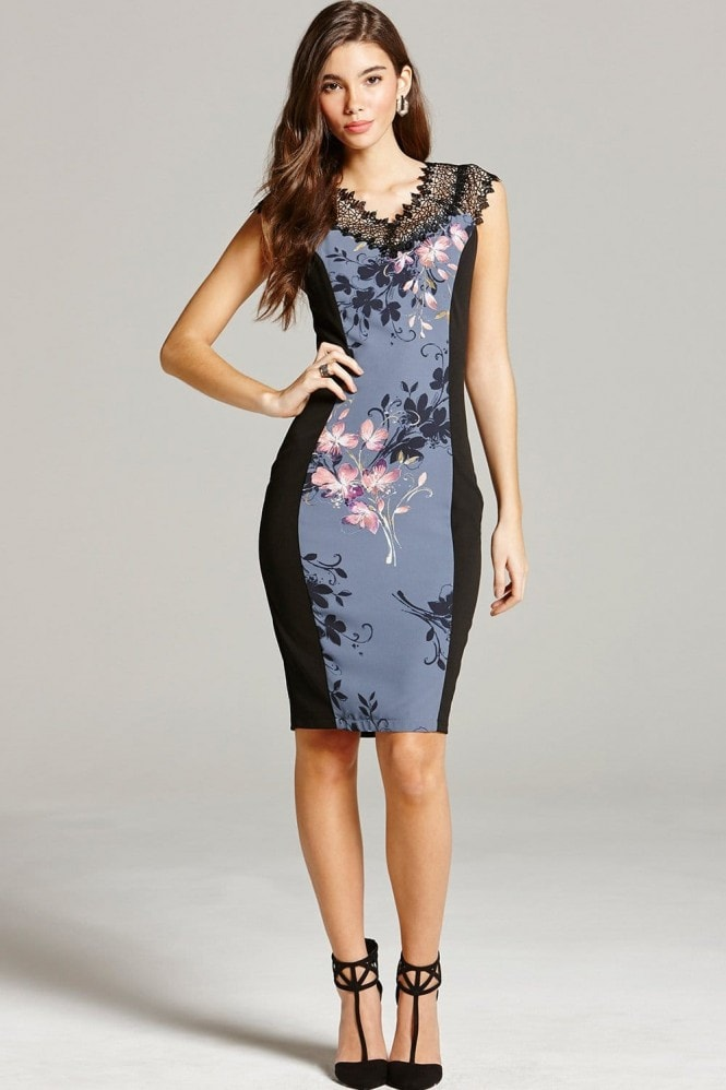 Floral Print and Lace Wiggle Dress