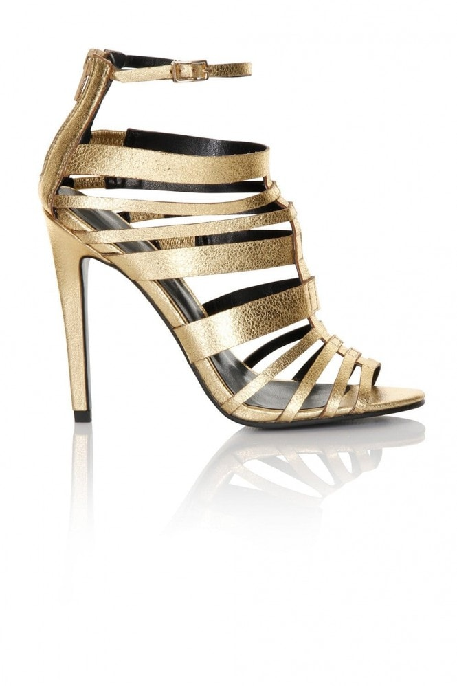 Little Mistress Footwear Gold Multi Strap Heel