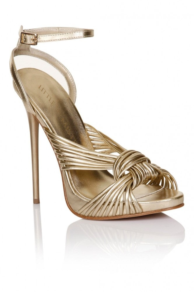 Little Mistress Footwear Gold Twisted Ankle Strap Heel