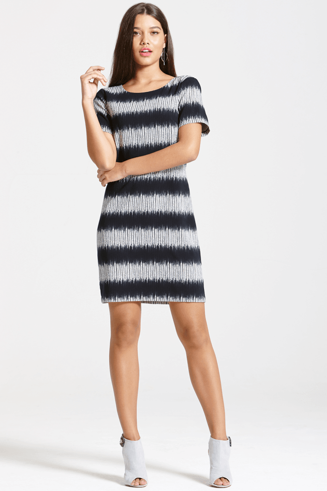 Outlet Girls On Film Grey And Black Stripe Shift Dress